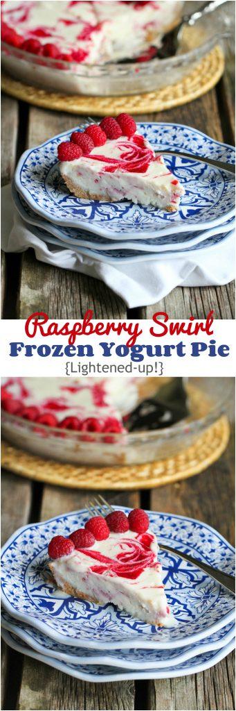 Raspberry Swirl Frozen Yogurt Pie...264 calories and 7 Weight Watchers PP for a less-guilt splurge! | cookincanuck.com #dessert #recipe