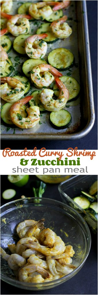 Roasted Curry Shrimp and Zucchini...An easy sheet pan meal! 172 calories and 3 Weight Watchers SmartPointsy