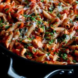 Skillet Whole Wheat Pasta with Chicken & Tomato Sauce