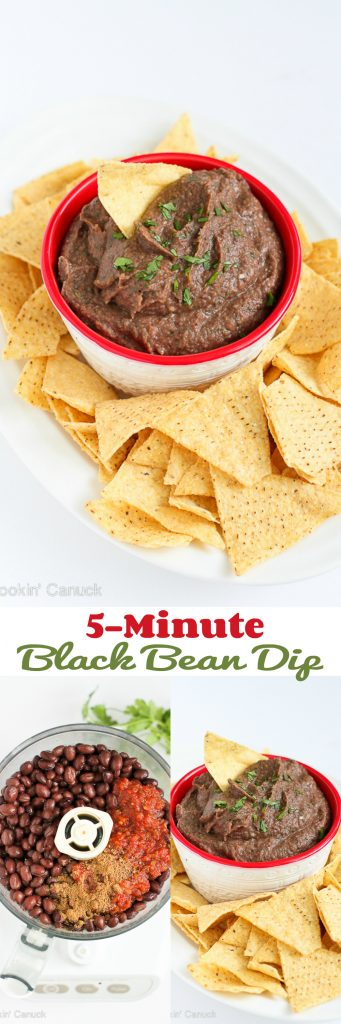 This easy, vegan 5-minute black bean dip is perfect for your next get-together, or keep it on hand for afternoon snacking. 80 calories and 0 Weight Watchers Freestyle SP #recipe #vegetarian #vegan