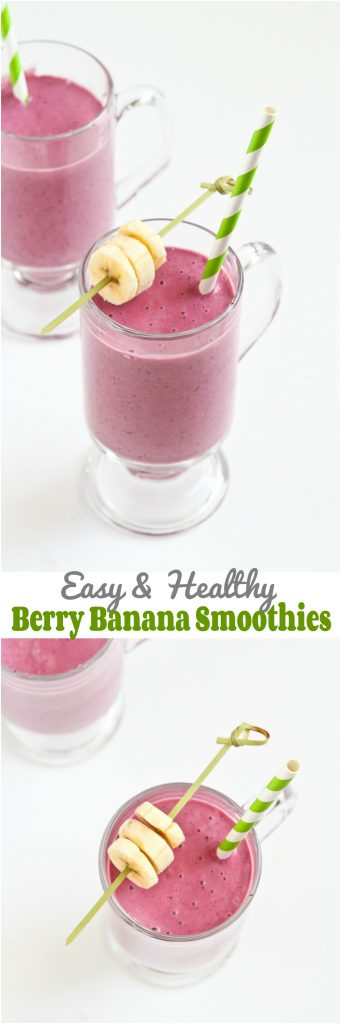 Easy Berry Banana Smoothie…A naturally sweet smoothie to kick off the day! 191 calories and 5 Weight Watchers PP | cookincanuck.com #recipe #healthy