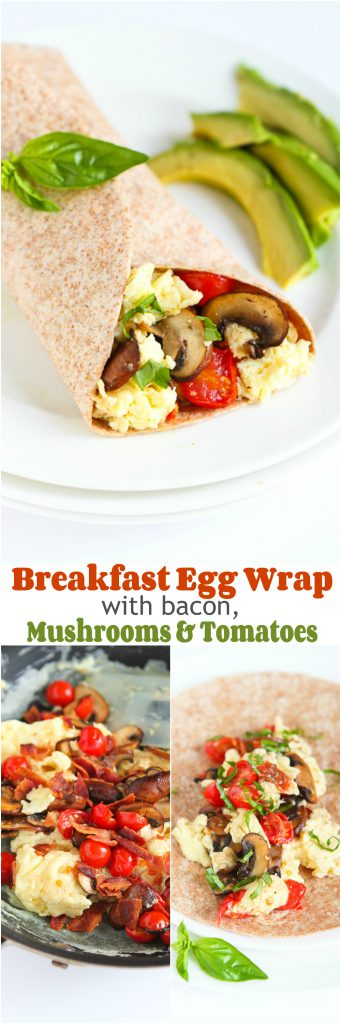 Breakfast Egg Wrap with Bacon, Mushrooms & Tomato...A great way to kick off the day! 298 calories and 7 Weight Watchers PP | cookincanuck.com #recipe