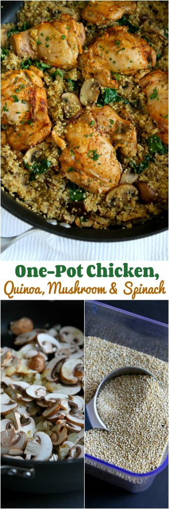 One-Pot Chicken, Quinoa, Mushrooms and Spinach recipe...Healthy dinner, quick clean-up! 256 calories and 6 Weight Watchers Freestyle SP #onepotmeals #chickenrecipes #weightwatchers