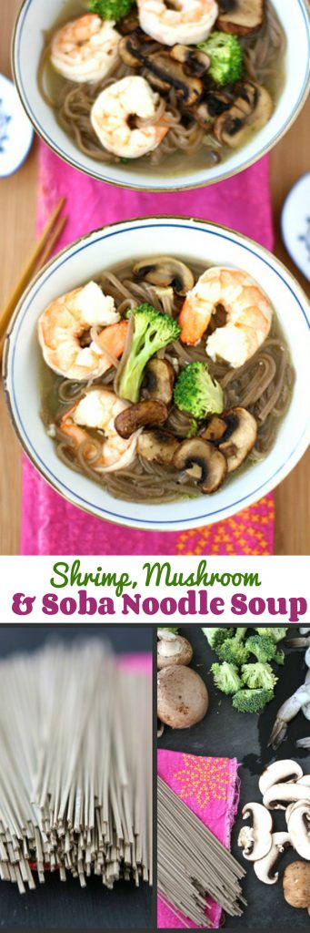Shrimp, Mushroom and Soba Noodle Soup Recipe | cookincanuck.com #healthy #cleaneating