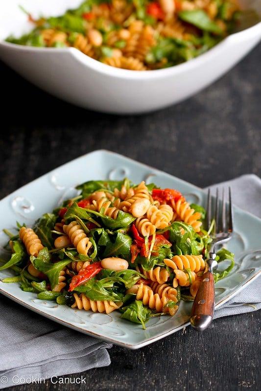 Arugula Salad with Roasted Tomatoes & Pasta Recipe {Vegan} | cookincanuck.com #vegetarian #vegan #meatlessmonday