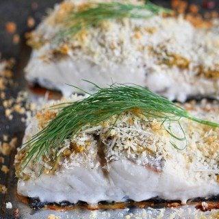 Hummus-Crusted Baked Fish Recipe {Barramundi}