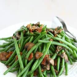 Fresh Green Beans with Bacon, Mushrooms and Herbs Recipe...Perfect side dish for Thanksgiving or any other time! | cookincanuck.com