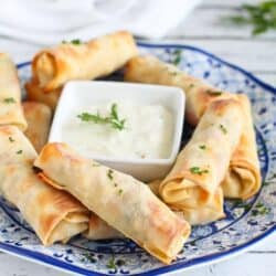 Baked Chicken Ranch Yogurt Egg Rolls…Perfect hand-held appetizers for tailgating! 166 calories and 4 Weight Watchers PP | cookincanuck.com #recipe
