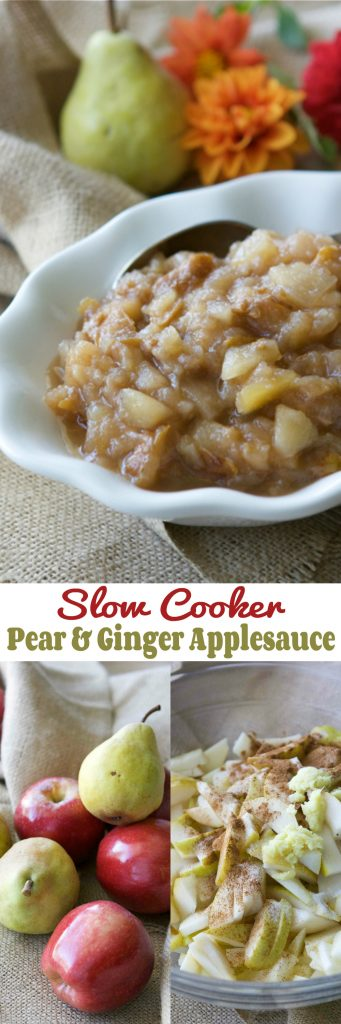 This easy crockpot pear applesauce with ginger takes very little effort when made in the slow cooker. Eat it on its own or scoop it onto ice cream. #crockpot #slowcooker #applesauce