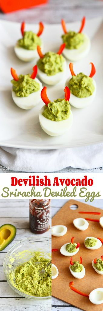 These mayo-less avocado deviled eggs are all dressed up for Halloween, but are fantastic snacks or appetizers any old time. 52 calories and 1 Weight Watchers Freestyle SP