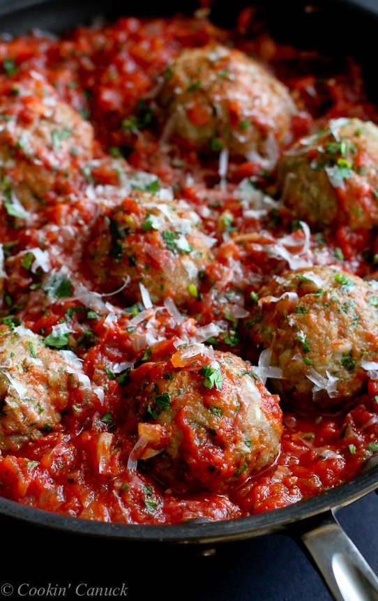 Italian Turkey Meatballs in Tomato Sauce Recipe | Cookin ...