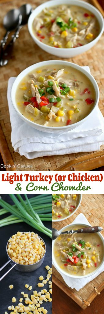 This light corn chowder recipe uses leftover turkey or chicken. It's hearty, satisfying and a fraction of the calories of most chowders. 223 calories and 3 Weight Watchers Freestyle SP #soup #healthy #Thanksgiving
