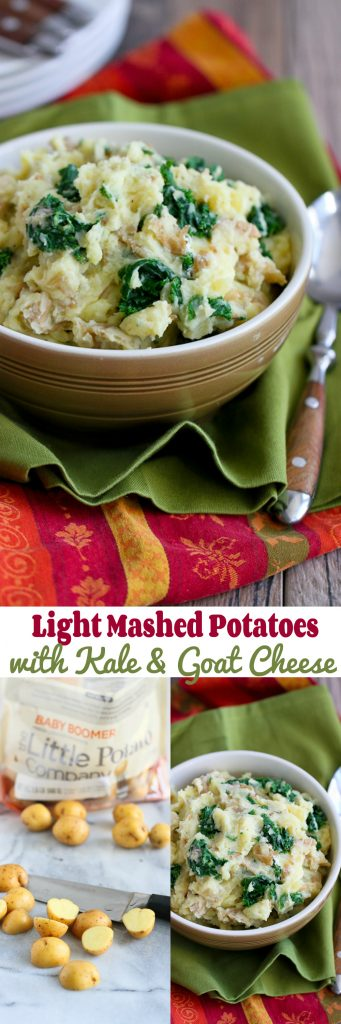 Light Mashed Potatoes with Kale and Goat Cheese…The perfect side dish for any healthy meal! 129 calories and 4 Weight Watchers Freestyle SP #recipe #vegetarian