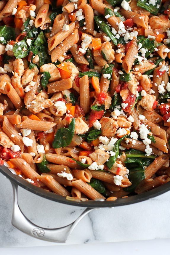 healthy pasta dishes one pot whole wheat pasta recipe with chicken amp spinach 10262