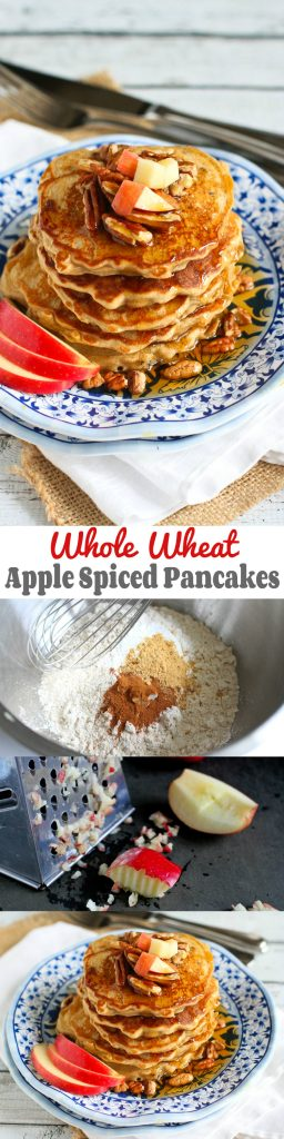 Whole Wheat Apple Spiced Pancakes…Fantastic for breakfast or dinner! 183 calories and 5 Weight Watchers PP | cookincanuck.com #healthy