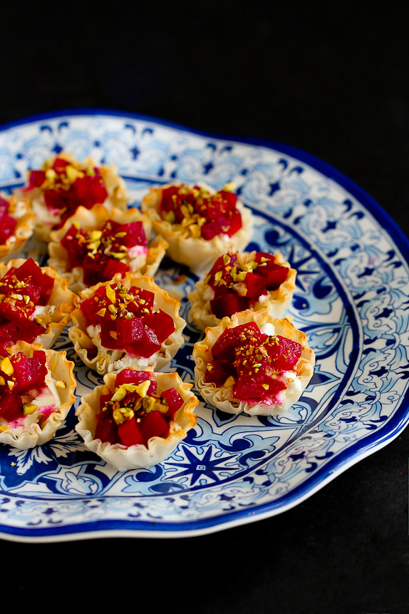 Mini Beet, Goat Cheese and Pistachio Phyllo Cups…An easy and healthy appetizer for the holidays or any other time! 64 calories and 2 Weight Watchers PP | cookincanuck.com #recipe #vegetarian