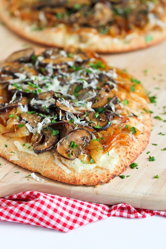 Marsala Mushroom and Caramelized Onion Naan Pizza…Marsala, thyme, sweet onions and melted cheese makes for one tasty pizza! 389 calories and 8 Weight Watchers PP | cookincanuck.com #recipe