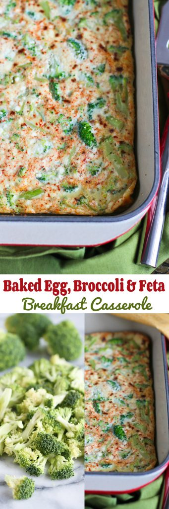 Baked Egg, Broccoli and Feta Breakfast Casserole…An easy vegetarian brunch (or dinner) recipe with a make-ahead option! 113 calories and 1 Weight Watchers Freestyle SP