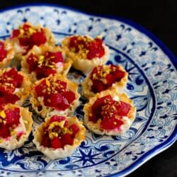 Mini Beet, Goat Cheese & Pistachio Phyllo Cups…An easy and healthy appetizer for the holidays or any other time! 64 calories and 2 Weight Watchers PP | cookincanuck.com #recipe #vegetarian