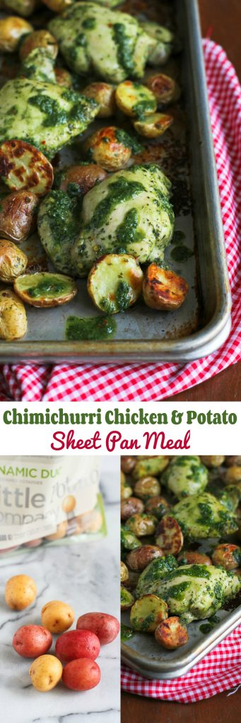 Chimichurri Chicken and Potato Sheet Pan Meal…Healthy and delicious meal, and easy clean up! 233 calories and 7 Weight Watchers Freestyle SP | cookincanuck.com
