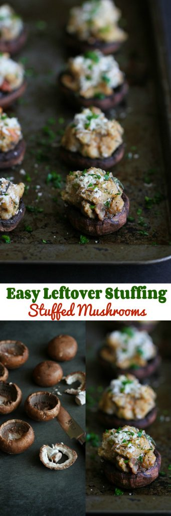 Easy Leftover Stuffing Stuffed Mushrooms…6 ingredients to a delicious appetizer! 105 calories and 3 Weight Watchers PP | cookincanuck.com