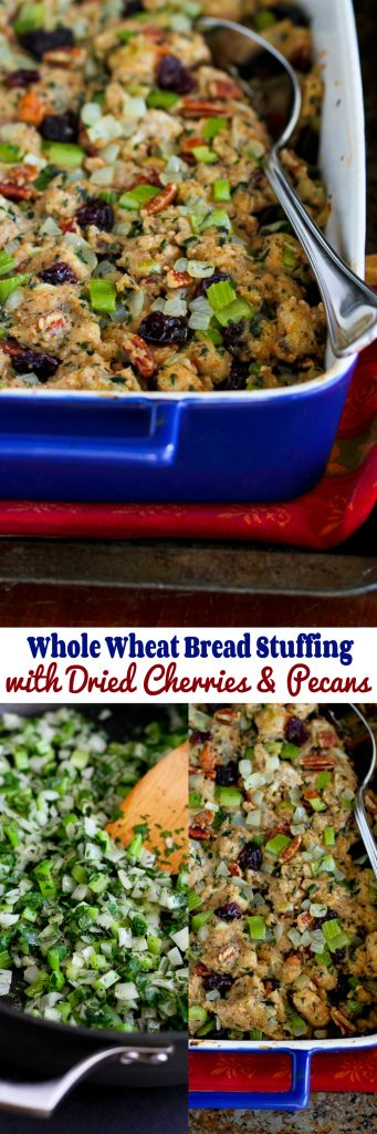 Whole Wheat Stuffing with Dried Cherries and Pecans…A delicious, healthy version of a classic holiday recipe. 252 calories and 6 Weight Watchers PP | cookincanuck.com #Thanksgiving