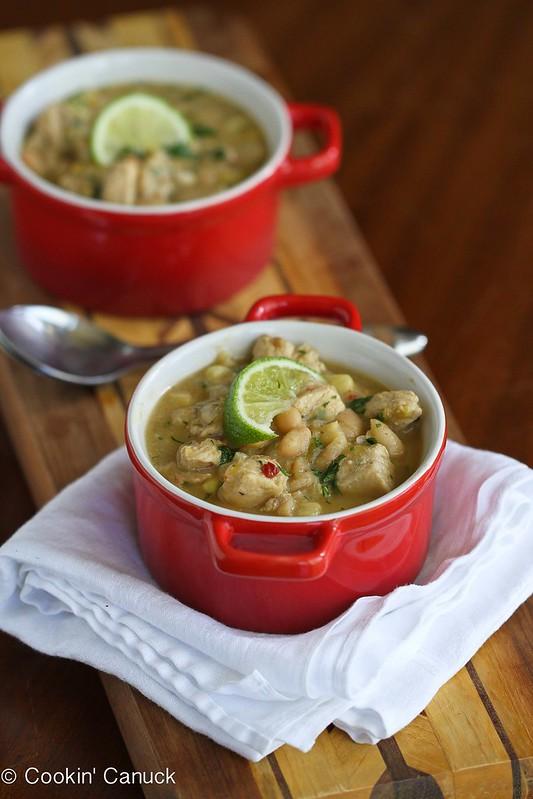Smoky White Chicken Chili Recipe with Corn & White Beans | cookincanuck.com #chili #glutenfree #chicken