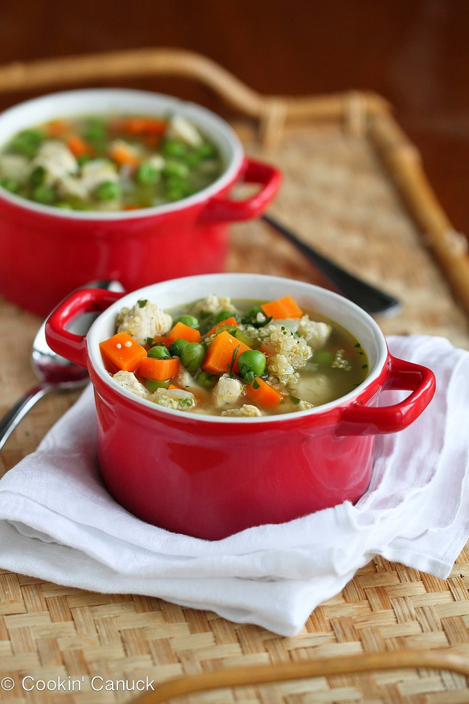 Light Chicken, Quinoa & Vegetable Soup Recipe | cookincanuck.com #soup #healthy #chicken