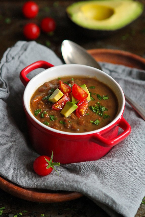 Slow Cooker Chipotle Lentil Soup with Avocado... Healthy & delicious, with very little prep time. 298 calories and 7 Weight Watchers PP | cookincanuck.com #recipe #vegan #vegetarian