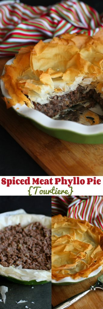 Spiced Meat Phyllo Pie – A light version of the traditional tourtiere from Quebec.…310 calories and 8 Weight Watchers PP | cookincanuck.com