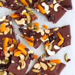 Trail Mix Chocolate Bark with Sea Salt…An easy chocolate treat, with a healthy spin, for the holidays. Great for gifts!  80 calories and 2 Weight Watchers PP | cookincanuck.com #dessert
