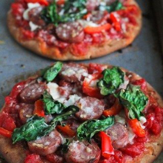Whole Wheat Pita Pizza Recipe with Sausage & Spinach