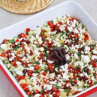 Healthy Mediterranean 7-Layer Dip Recipe