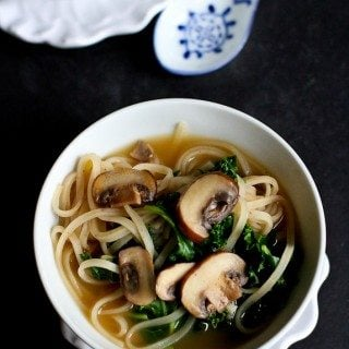 30-Minute Rice Noodle Soup Recipe with Mushrooms & Kale