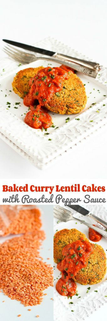Baked Curry Lentil Cakes with Roasted Pepper Sauce Recipe…A satisfying, light vegan meal! 201 calories and 4 Weight Watcher Freestyle SP