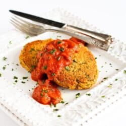 Baked Curry Lentil Cakes Recipe with Roasted Red Pepper Sauce