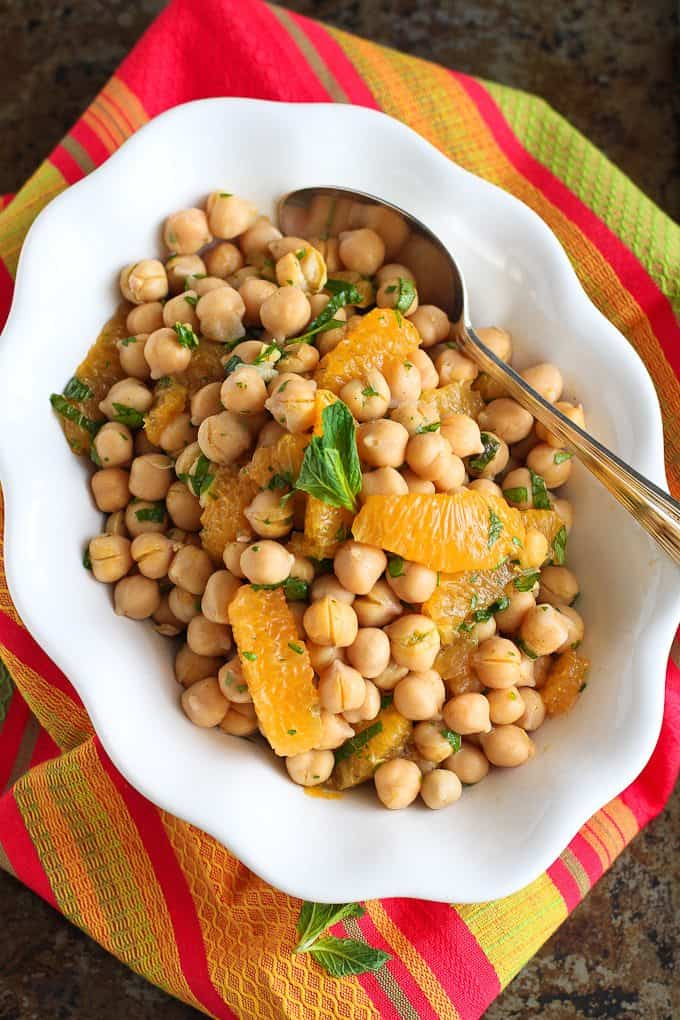 Citrus Chickpea Salad with Lemon Herb Dressing…Eat this healthy salad by itself or serve it over fresh spinach! 174 calories and 2 Weight Watcher Freestyle SP