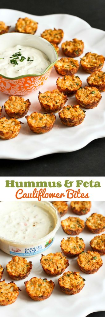 Baked Cauliflower Bites with Hummus and Feta…Great for healthy snacking or entertaining! 48 calories and 1 Weight Watcher Freestyle SP for 2 bites!