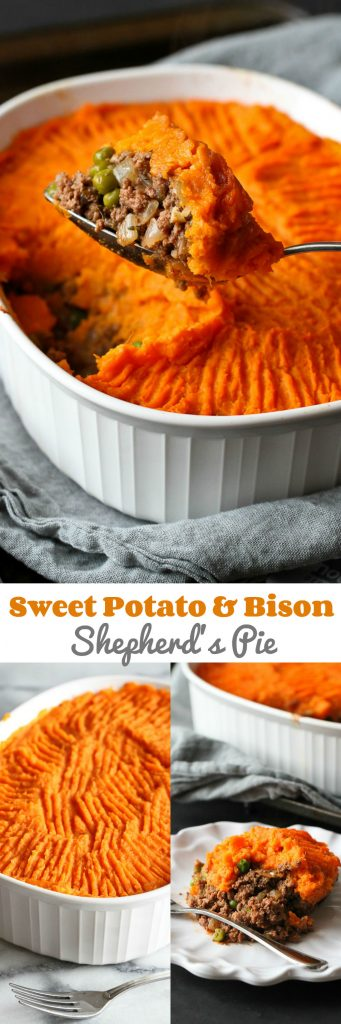 Sweet Potato & Bison Shepherd's Pie…A hearty, classic casserole recipe with a twist! 310 calories and 8 Weight Watcher Freestyle SP