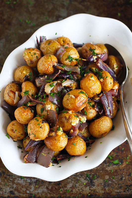 Roasted Potatoes and Onions with Blue Cheese…A side dish recipe that will steal the show! 135 calories and 4 Weight Watchers Freestyle SP
