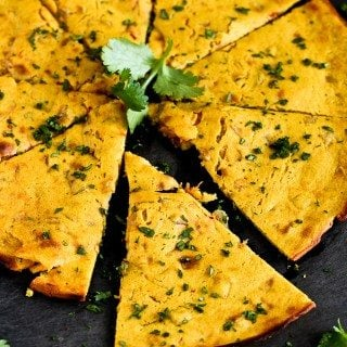 Indian Spiced Chickpea Flatbread (Socca)…You will not be able to stop eating this! 100 calories and 3 Weight Watchers Freestyle SP