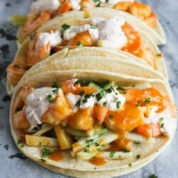 Teriyaki Shrimp Tacos with Chili Lime Yogurt…The flavors in these are absolutely amazing! 284 calories and 8 Weight Watcher SmartPoints