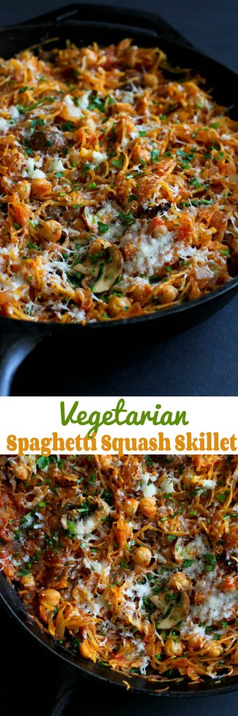 Vegetarian Spaghetti Squash Skillet…This satisfying meatless meal is filled with mushrooms, chickpeas and a marinara sauce! 143 calories and 2 Weight Watchers Freestyle SP