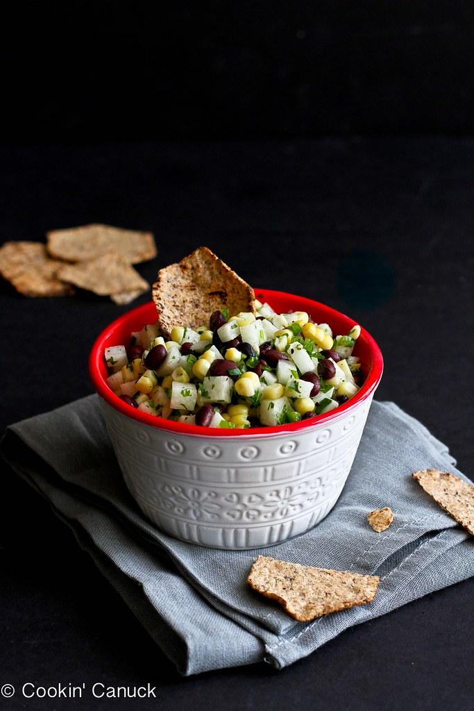 Jicama, Black Bean & Corn Salsa Recipe | cookincanuck.com #vegetarian #vegan