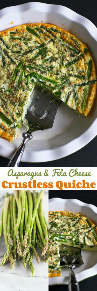 Asparagus and Feta Cheese Crustless Quiche…An easy and healthy vegetarian quiche for springtime! 108 calories and 108 calories and 1 Weight Watchers Freestyle SP