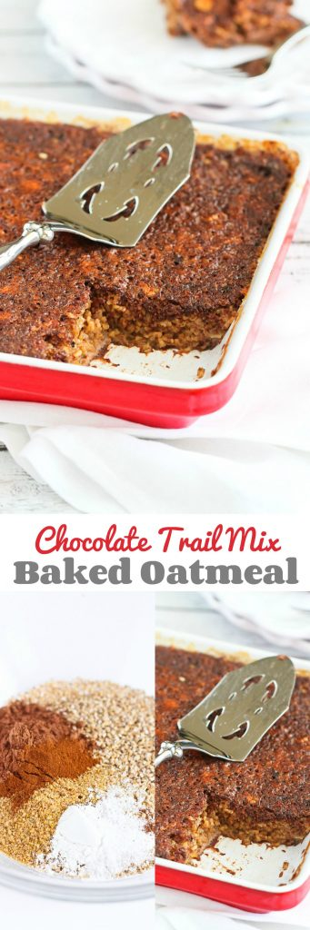 Chocolate Trail Mix Baked Oatmeal…Make this on Sunday and have breakfast on hand for the week! 229 calories and 9 Weight Watchers SmartPoints