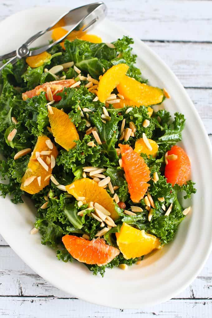 This kale salad recipe features the sweetest seasonal oranges, crunchy ...