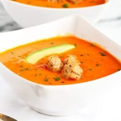 Golden Red & Orange Bell Pepper Soup…Flavorful and creamy, without the cream! From Amie Valpone's new book, Eating Clean.  152 calories and 4 Weight Watcher SmartPoints