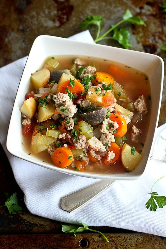 Slow Cooker Turkey Potato Soup…Light, brothy and packed with vegetables! 186 calories and 4 Weight Watchers Freestyle SP