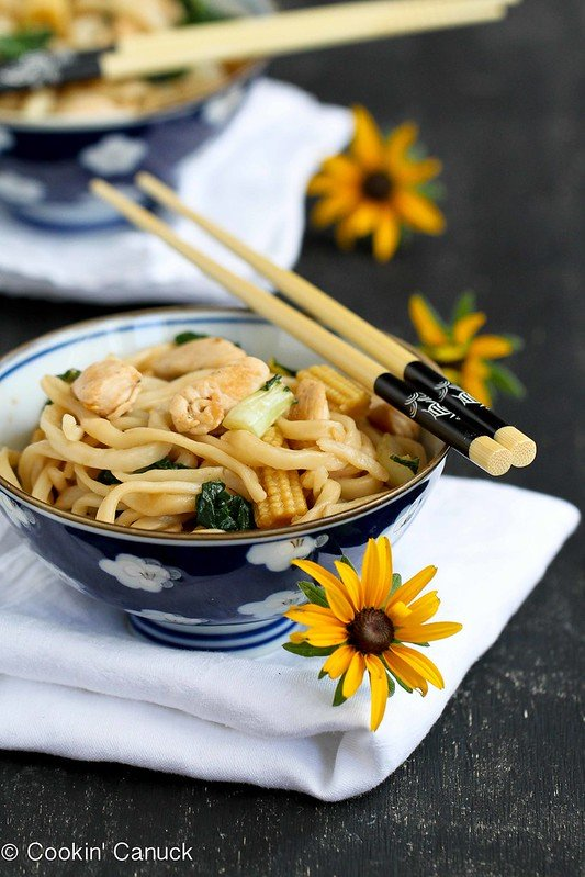 Chinese Noodle Recipe with Chicken, Bok Choy and Hoisin Sauce | cookincanuck.com
